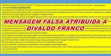 MENSAGEM FALSA ATRIBUÍDA A DIVALDO FRANCO